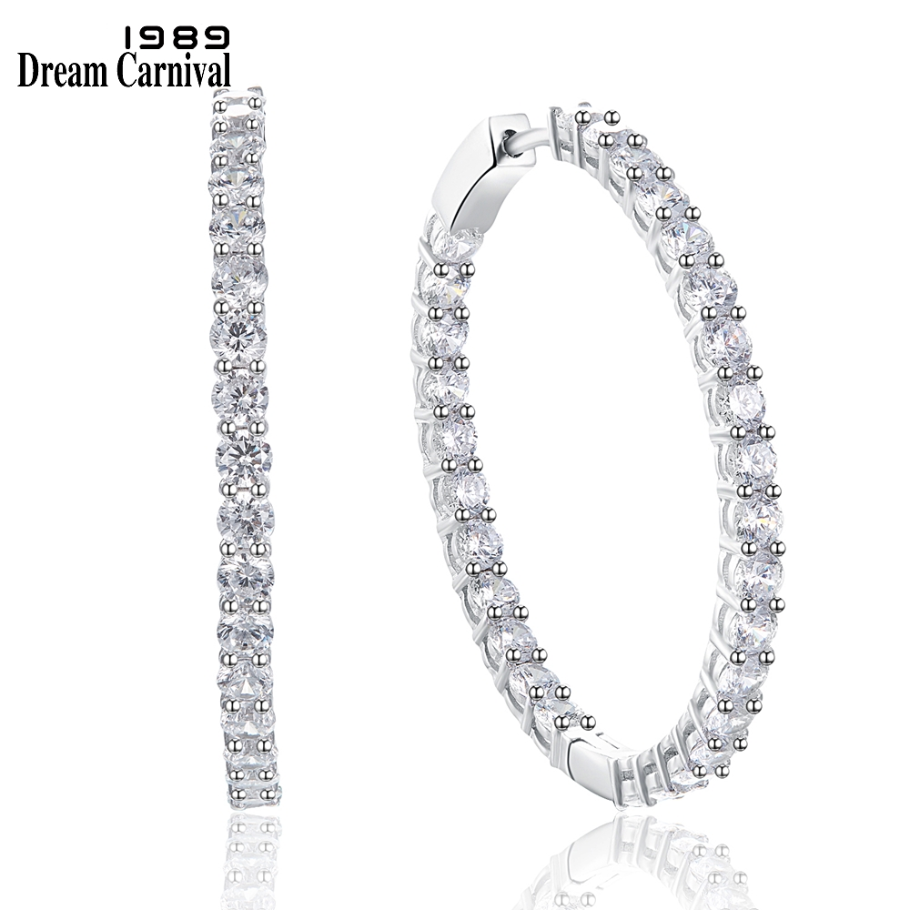 DreamCarnival1989 Elegant Hoop Earrings for Women 925 Sterling Silver Earings Wedding Style Jewelry Safety Push to Lock SE23600RDreamCarnival1989 Elegant Hoop Earrings for Women 925 Sterling Silver Earings Wedding Style Jewelry Safety Push to Lock SE23600R