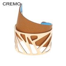 Cremo Bracelets & Bangles Wide Reversible Leather Interchangeable Cuff Bracelet Stainless Steel Women Steel Cuff Bracelets