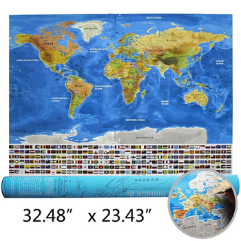 pvc ocean style scratch off map and world map with national flags