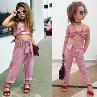 Toddler Children Clothing Lady Bug Summer Girls Clothing Set Kids 2 PCS Plaid Top Haren Pant
