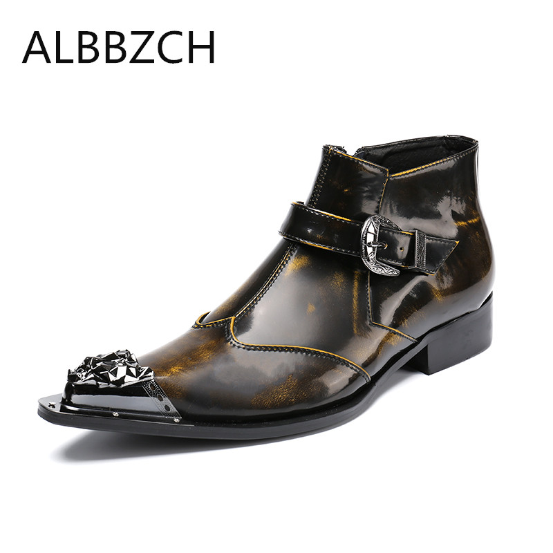 New mens fashion buckle patent leather boots shoes men pointed toe zip ankle boots western cowboy ankle boots retro work boots