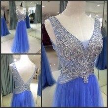 Förderung 2016 Elegante A-Line V-ausschnitt Kristall Perlen Backless Royer Blau Tüll abendkleid Formales Langes Frauen Prom Kleider