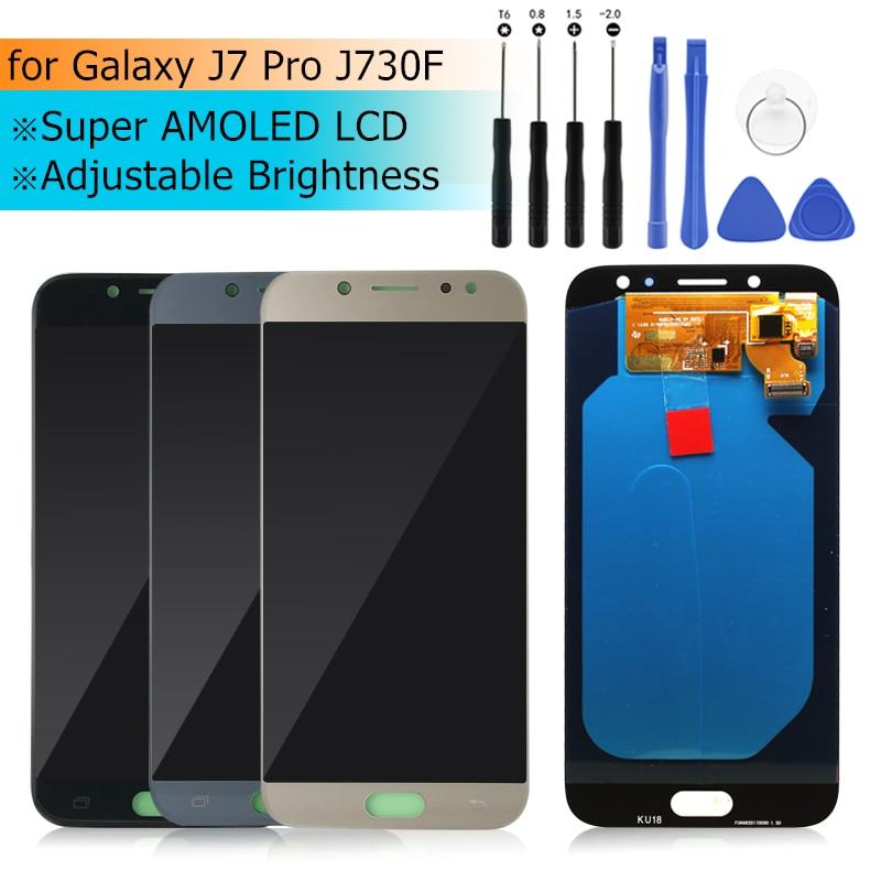Super AMOLED pour samsung galaxy j7 pro 2017 affichage J730 LCD écran tactile numériseur assemblée SM-J730F J730GM/DS J730G/DS LCD