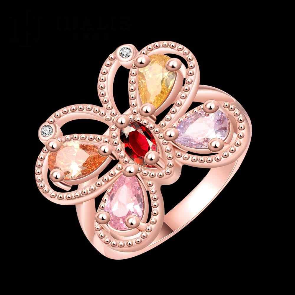 2สีRose Goldแหวนด้วยคริสตัลปูประดับเพชรหินนิกเกิลฟรีผสมสีเครื่องประดับขนาดเต็ม