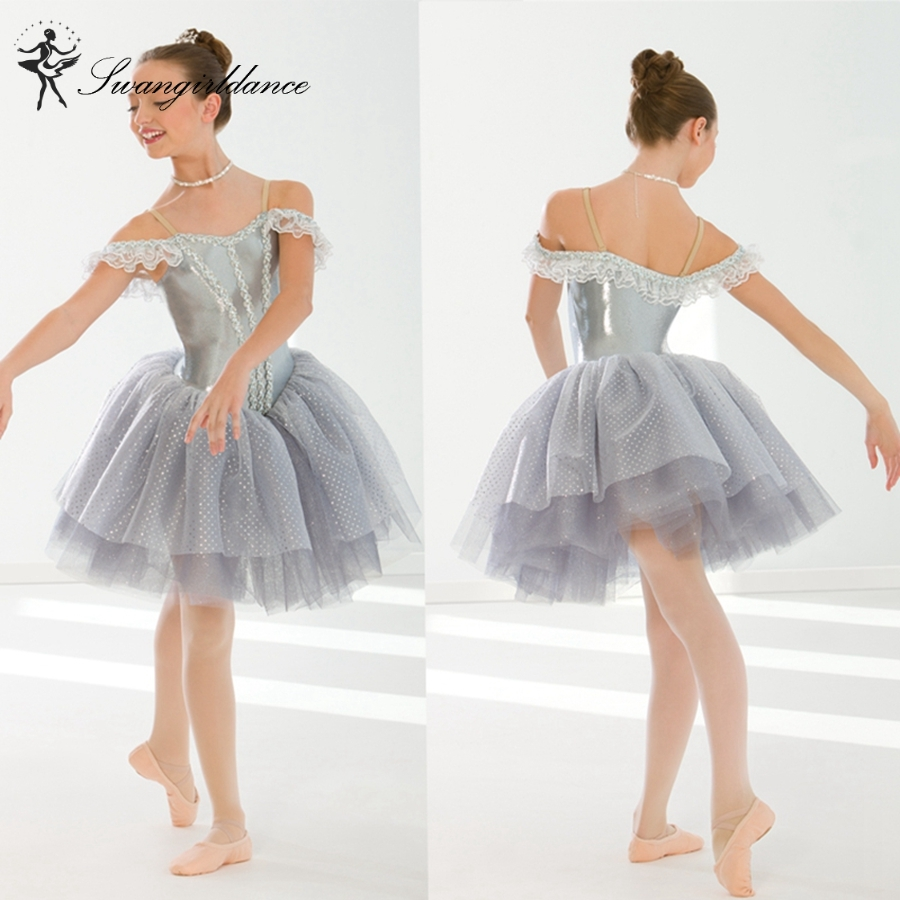 girls gray sleeping beauty lyrical dance tutu dress costume child ballerina performance tutu dress BL0131