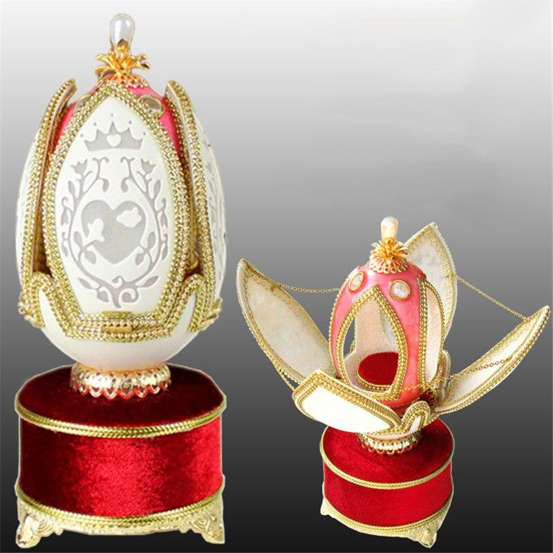 2017 Royal diamant fleur forme oeuf sculpture rose coeur mariage boîte à musique fête d'anniversaire à vendre fille femmes main manivelle boîte à musique