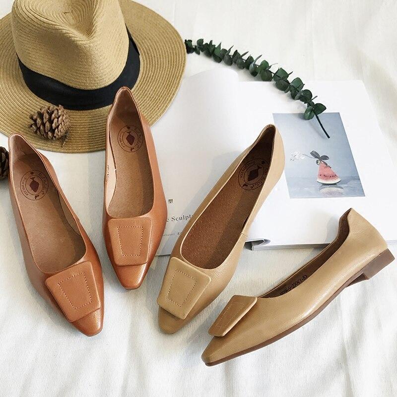 2018 Une Femmes Plat Cuir Chaussures Printemps Et Nouveau En Peu Pointues Scoop Bateau Bouche Profonde 2 Mode Simples De Automne Pédale rrw1Ax