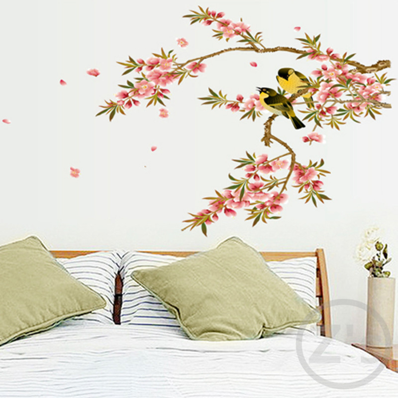 Zs Sticker Bird On Branch Wall Stickers Tree Decoration Birds Adhesive  Vinyl Home Decorative Living Room Wall Decor In Wall Stickers From Home U0026  Garden On ...
