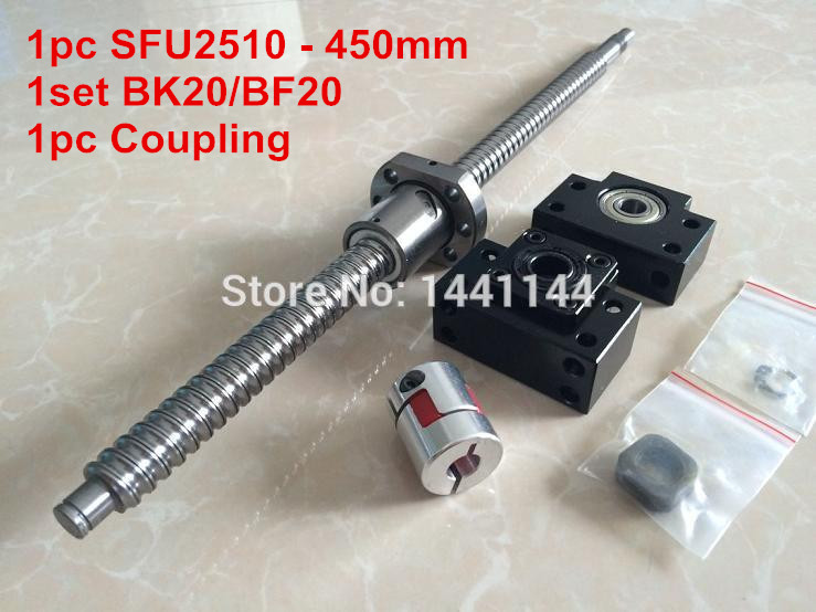 SFU2510- 450mm ballscrew + ball nut  with end machined + BK20/BF20 Support + 17*14mm Coupling CNC Parts tbi c3 ground 2510 ballscrew 400mm with sfu2510 ball nut for cnc kit