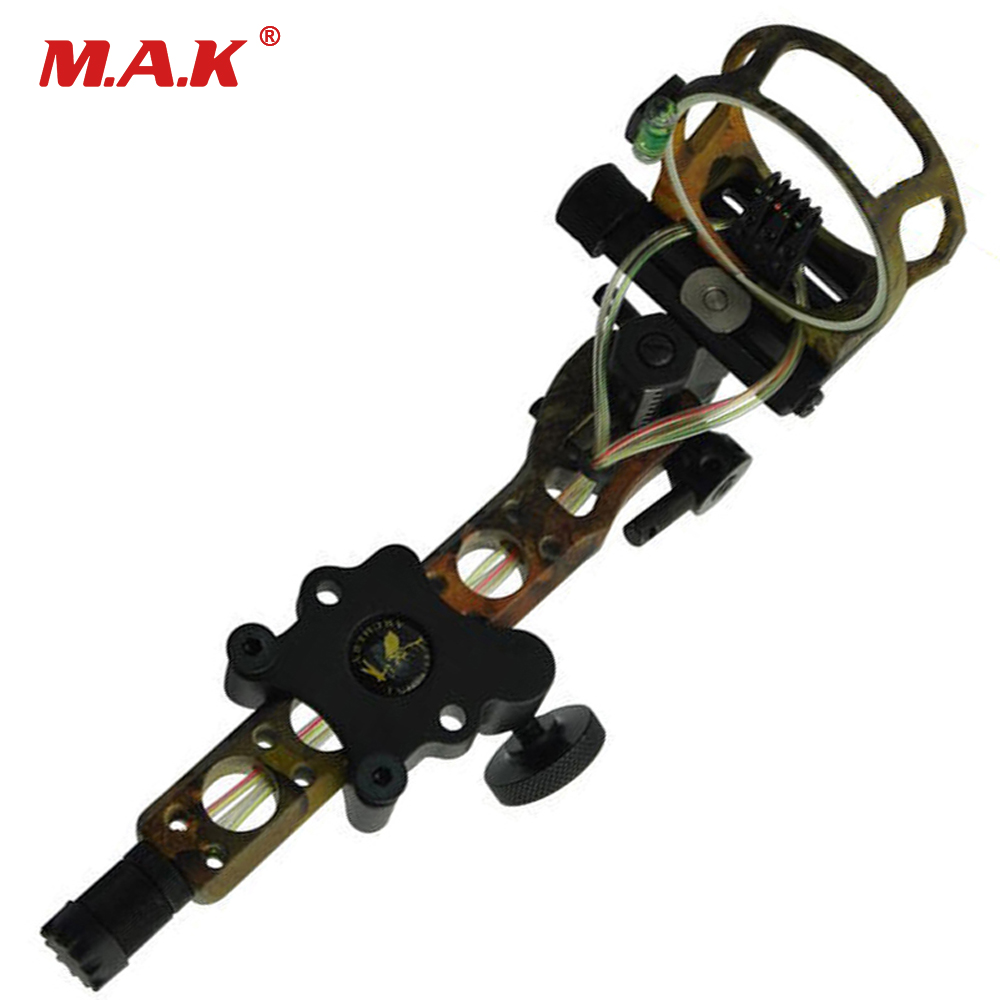 Topoint 5 pins .019 Bow Sight with Micro Adjust Detachable Bracket, Sight Light for Both Right /Left Hand Compound Bow Archery 4 color compound bow sight 1 pin 0 019 with quickly adjust detachable bracket tp9510 camo for hunting shooting archery