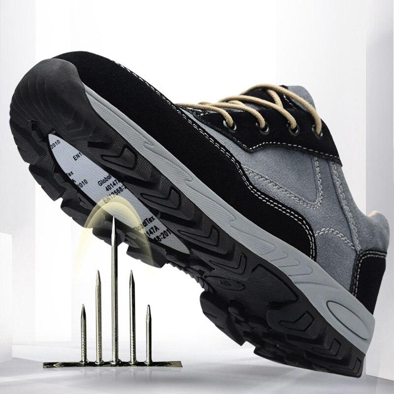 2019 hommes travail chaussures de sécurité en acier orteil respirant hommes bottes décontractées unisexe anti-crevaison travail assurance chaussures grande taille 36-45