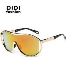 DIDI Oversized Integrated Sunglasses Lovers Steampunk Goggles Windproof Glasses Luxury Brand Flat Lens Gold Sport Eyewear W421