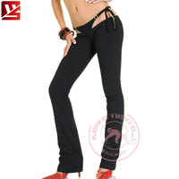 MEISE Patchwork Flare Pants Low Waist G string Fake Two piece Capris Pants Lace Up Bandage Casual Sexy Pants Plus Size F51