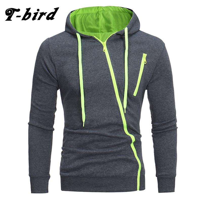 T-Bird Brand Hoodies Men 2018 Male Long Sleeve Hoodie Features Zipper Sweatshirt Mens Moletom Masculino Hoodies Slim Tracksuit