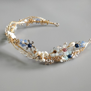 Image 4 - Blue Flower Bridal Headband Handmade Crystal Wedding Headpiece Prom Hair Jewelry 2019