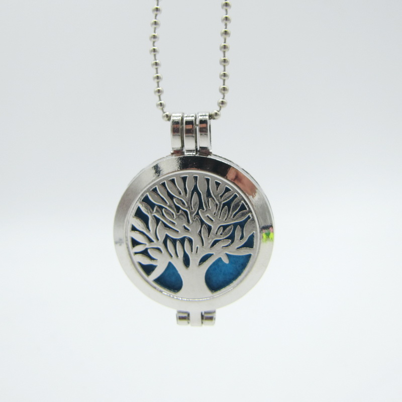 Znic Alloy Openable Locket Tree Pattern DIY Perfume Essential Oil Necklace With 8pcs Colorful Thick Felt Pad