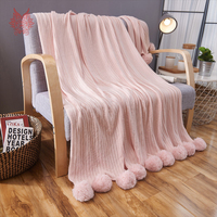 Modern Style Multi Color Solid Blanket For Bed Portable Car Air Conditioner Pure Cotton Knitted Blanket