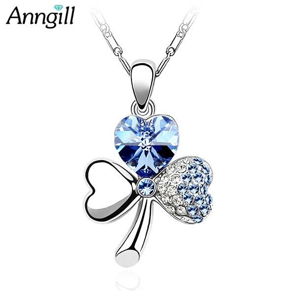 50200df91c88 € 3.51 18% de DESCUENTO|Anguila cristales originales de Swarovski trébol  collar corazón Cadenas colgante moda Nueva joyería para las mujeres en ...