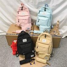 Нейлоновый женский рюкзак, Одноцветный рюкзак Mochilas, женская сумка на плечо для девочки-подростка, школьная сумка, рюкзак