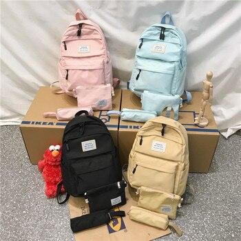 3 set Nylon Backpack Solid Color Shoulder Bag Casual Women Backpack Teenage Girl School Bag Bagpack Backbag Mochilas Female