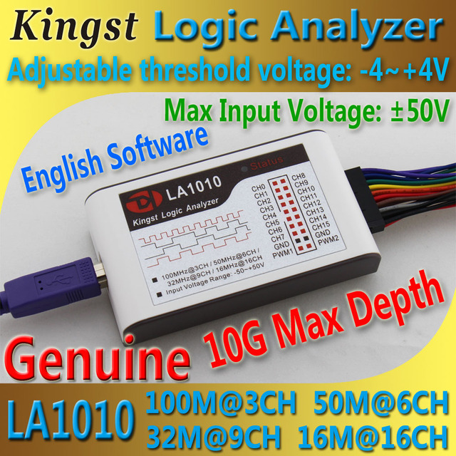 Kingst  LA1010 USB  Logic Analyzer    100M max sample rate,16Channels,10B samples, MCU,ARM,FPGA debug tool