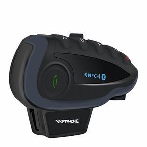Image 3 - 2 sztuk 5 zawodników V8 domofon Bluetooth kask NFC kierownica motocykla pilot komunikator kask z zestawem słuchawkowym z radiem FM