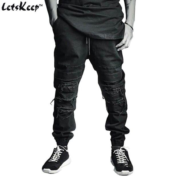 2016 LetsKeep Мужские Рваные джинсы jogger Голеностопного длина байкер жан Harajuku slim fit разбитое Колено rip брюки с Drawstring, ZA165