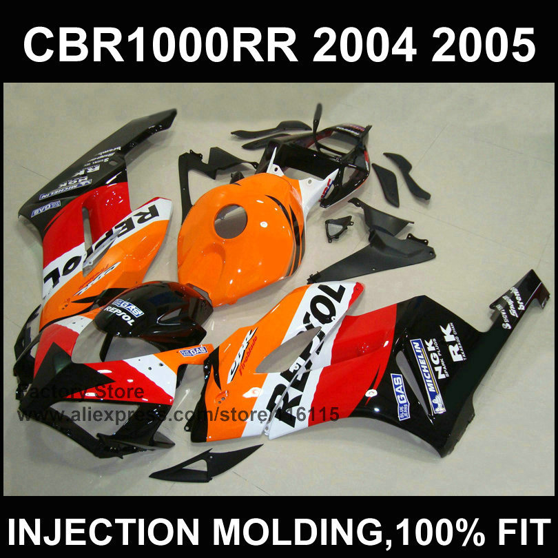 Orange repsol fairing kit for   CBR 1000RR Injection mold fairings 2004 2005  cbr1000rr 04 05 ABS plastic bodyworks 2 channel l20 se power amplifier finished board transistor amplifier kit a1943 c5200 350w 350w