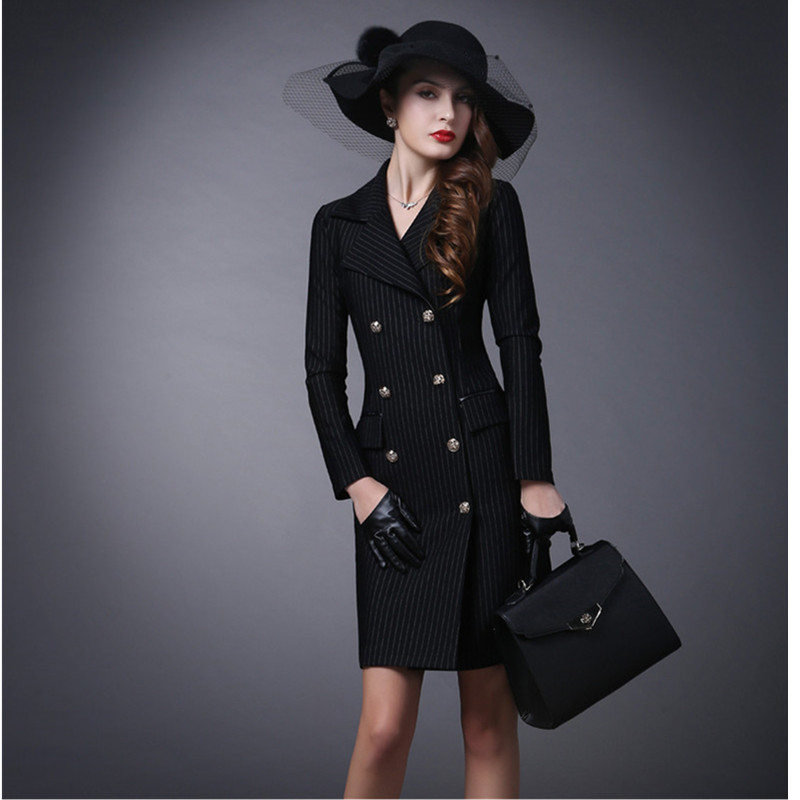 Yagenz Tranchée Printemps Mode Breasted Manteaux Manteau Automne Slim Vêtements vent Femmes Long Double Rayé Pour 510 Black Coupe zzW1qrB0