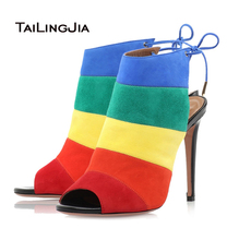 2016 New Women Sandals Ankle High Slingbacks High Heels Thin Heels Spring Autumn Peep Toe Rainbow Handmade Shoes US Size 4-15