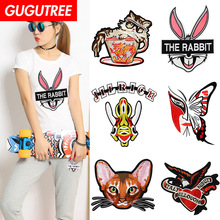GUGUTREE embroidery big rabbit buttlefly cats eagle fish patches animal badges applique for clothing XC-120