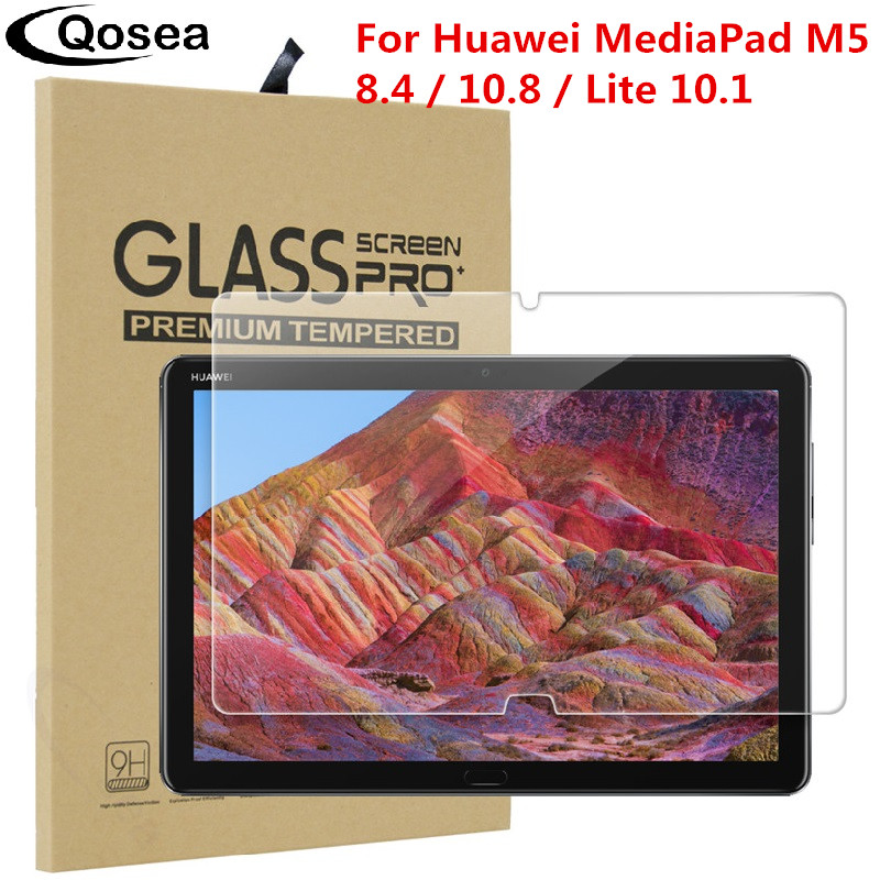Qosea For Huawei MediaPad M5 Lite 10 1 inch Screen Protector 9H Clear Tablet Protective Film MediaPad M5 8 4 10 8 Tempered Glass in Phone Screen Protectors from Cellphones Telecommunications