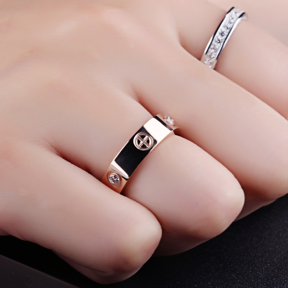 Classic Finger Rings Cross Rose Gold Color Glossy CZ Jewelry ...