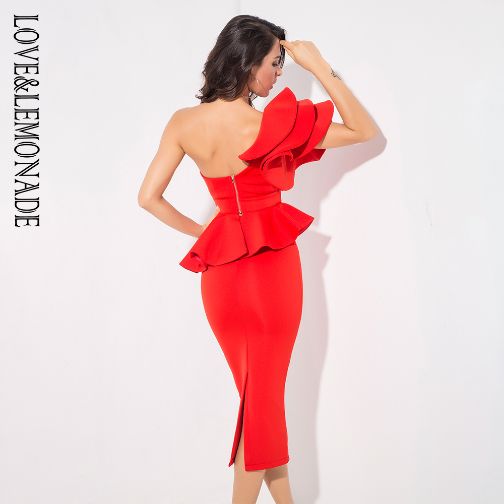 Love&Lemonade Red One-Shoulder Ruffle Trim Two-Pieces Slim Set LM1192