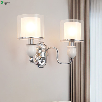 Modern Chrome Metal Led Wall Lights Glass Shades Bedroom Led Wall Lamp Living Room Led Wall Light Fixtures Ceramic Wall Sconce