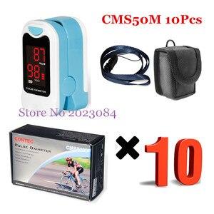 CONTEC 10uds. Oxímetro de pulso de la yema del dedo LED CMS50M, Monitor de oxígeno en sangre, cuidado de la salud, bolsa