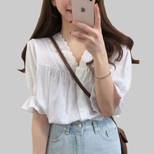 shintimes White Embroidery Women Blouse Shirt 2019 Summer Floral Lace Button Short Sleeve Womens Tops Clothes Chemisier Femme