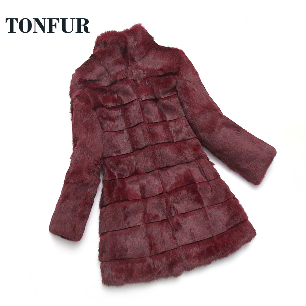 Real Fur Coat Winter Warm New Full 100% Natural Rabbit Fur Long Coat with Striped Cut