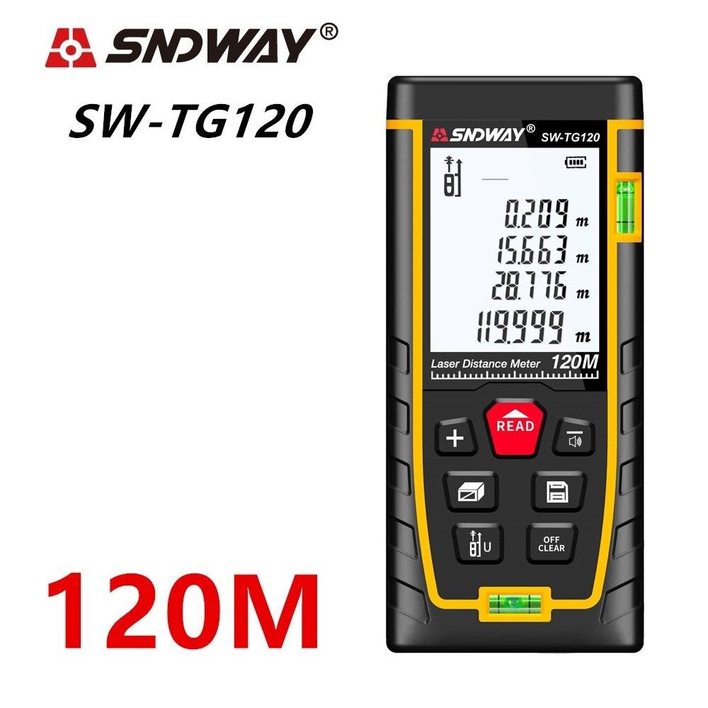 SNDWAY medidor de distância A Laser 40 M 50 M 70 M 100 M Trena A Laser 120 M rangefinder Faixa localizador Roleta laser fita métrica governante metro