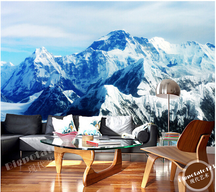The latest 3D murals, the Mount Qomolangma ice mountain scenery de parede Papel, the living room TV sofa bedroom wall paper the latest 3d murals dream of the sun exposure forest trees stone waterfall scenery living room tv sofa bedroom wall paper