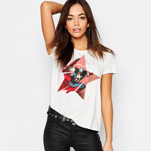 цены LUSLOS Marvel Comics Captain America Print Women Short Sleeve Tshirt Super Hero Summer Cotton Blended Tops Starfish T Shirt