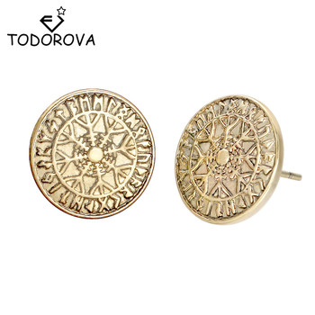 Todorova Norse Viking Ear Stud Rune Circle Earrings Compass Stud Earring Antique Silver Viking Earrings for Men Jewelry Gift circle