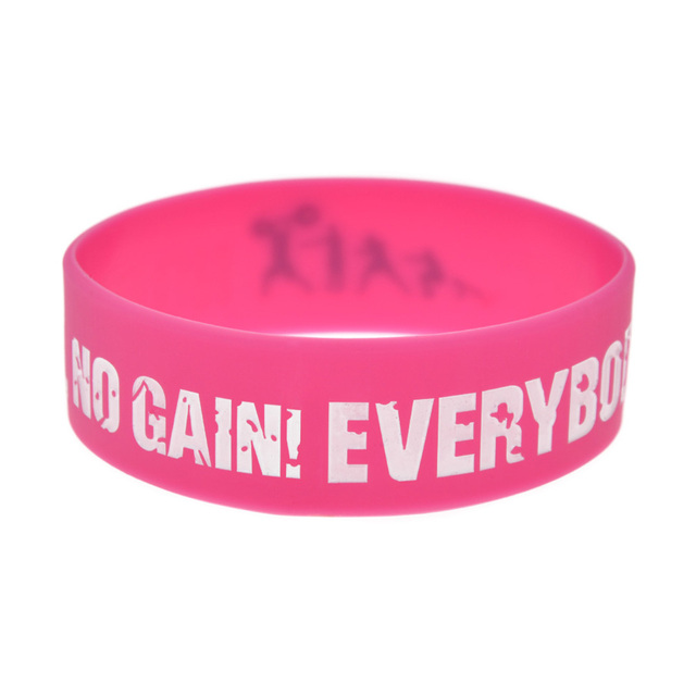 OneBandaHouse 1PC Inch Wide Sport Bracelet Everybody Fit No Pain No Gain Silicone Wristband