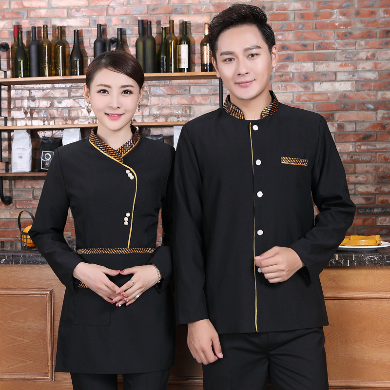Hotel Work Clothing Spring And Autumn Long Sleeve Black Single Breasted Waiter Coat+Apron Set Restaurant Waitress Thick Uniforms