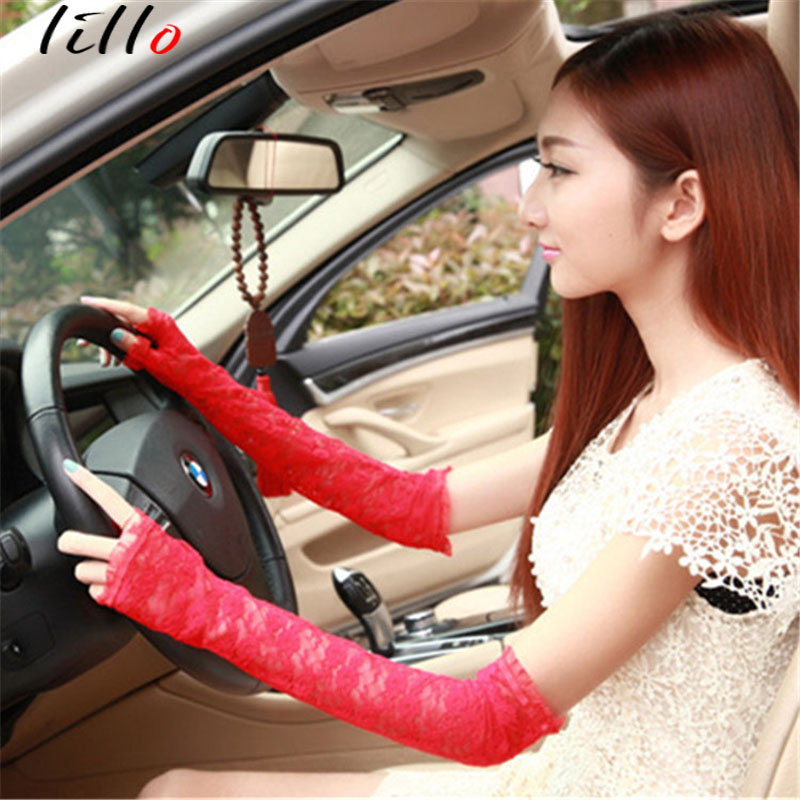 2019 Summer Fashion Sleeve Long Length Lace Sun Protection Glove Ladies Driver Driving Semiscrew Gloves UV Lace Gloves Summer Sl