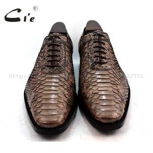Image 4 - Cie Chân Vuông Bespoke Tuỳ Handmade Da Trăn Bê Đế Ngoài Bằng Da Người Đàn Ông Thở của giày NoSN1 Goodyear welted Màu Nâu