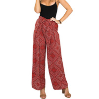 Vintage Bow Tie Women Print Flower Pattern Wide Leg Loose Cotton Dress Pants European Style Female