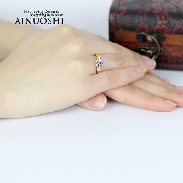 Women Real 10K Gold Yellow Engagement Wedding Ring Ideal Gift