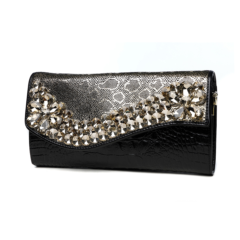 Serpentine Diamonds Flower Hand Clutch Bag Women Genuine Leather Hand Bag Chain Bag Long Wallet Shoulder Evening Crossbody Bag one shoulder inclined shoulder bag ms serpentine hand bag leather worn across multiple packets fashion hand caught