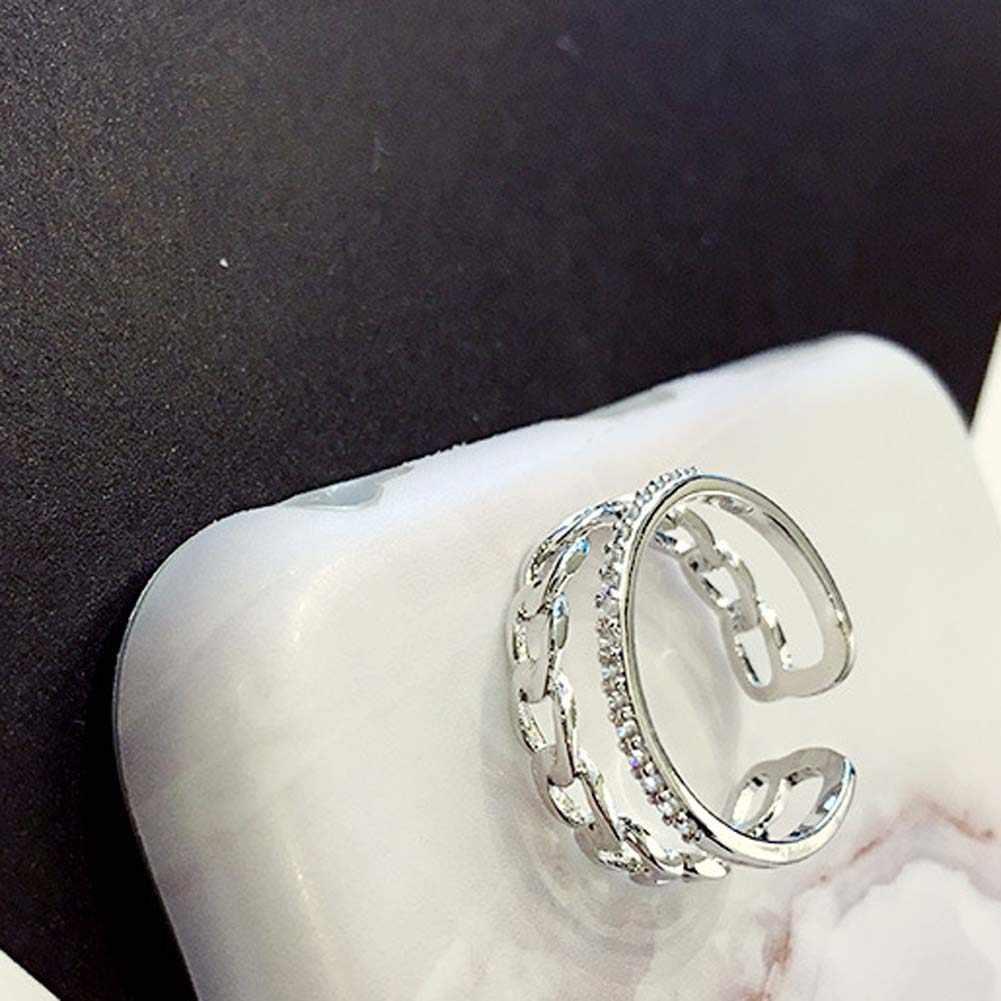 Proste moda łańcuch podwójna warstwa pierścień złoty srebrny kolor zwykłe kryształki utorować ustawienie dekoracji otwarty pierścień kobiety biżuteria